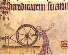 The Spinning Wheel, invented for the ease of spinning cotton. Luttrell Psalter, 1450